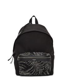 Saint Laurent Black Palm Print City Backpack