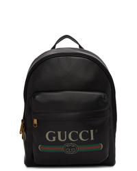 Gucci Black Vintage Logo Backpack