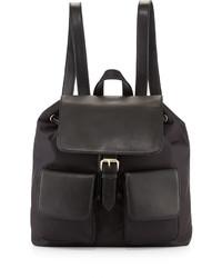 Neiman Marcus Fallon Nylon Leather Trim Backpack Black