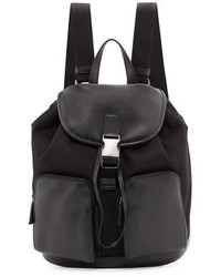 Leather backpack with nylon trim black medium 682063