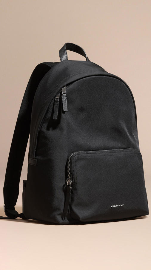 ... Burberry Leather Trim Nylon Backpack ... 2c6d28158869c