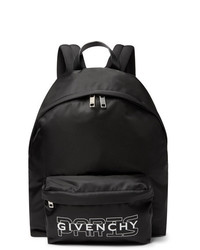 Givenchy Leather Trimmed Logo Print Nylon Backpack