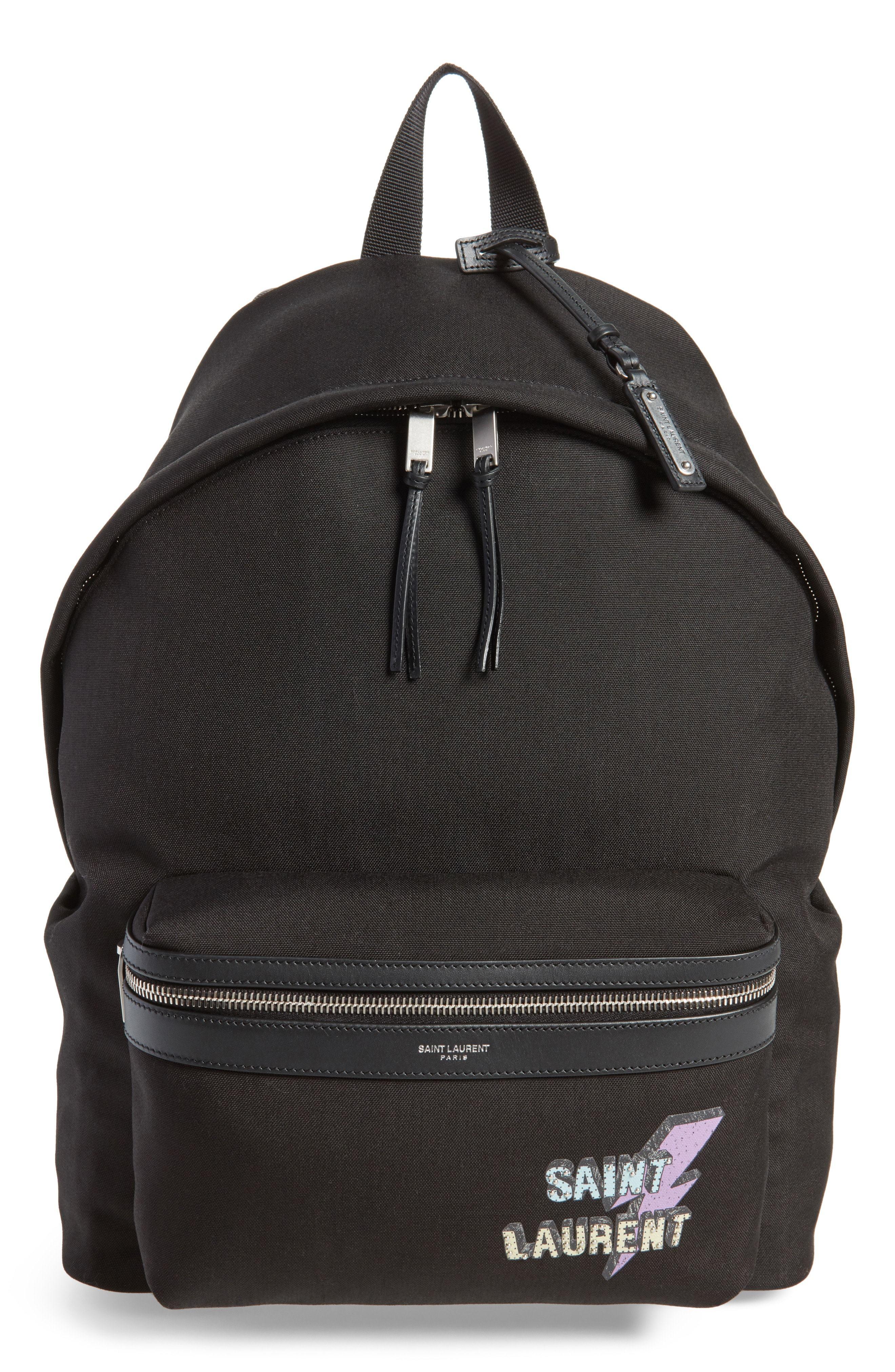 Saint Laurent Lightning Logo City Backpack