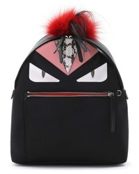 Fendi Mini Monster Genuine Fox Fur Genuine Goat Fur Genuine Snakeskin Trim Nylon Backpack Black