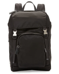 Nylon double buckle backpack black medium 682054