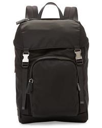 Prada Nylon Double Buckle Backpack Black