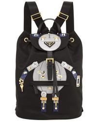 Prada Nylon Robot Backpack Blackmulti