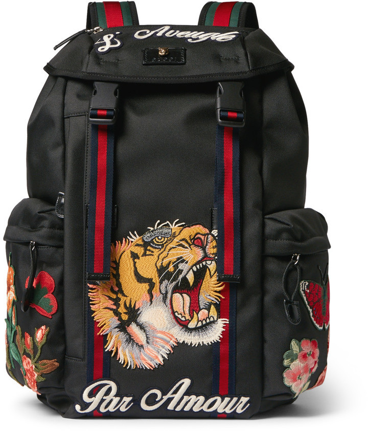 8873a0a8091b Gucci Patch Embellished Canvas Backpack, $1,890 | MR PORTER ...
