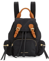 Burberry Small Leather Trim Nylon Backpack Black