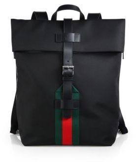 bee2cfccddfe Gucci Techno Canvas Backpack, $1,380 | Saks Fifth Avenue | Lookastic.com