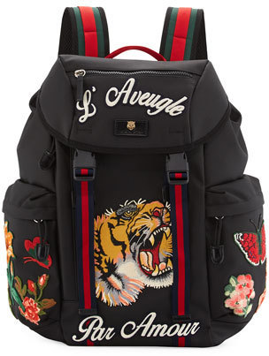 5613851c829 ... Canvas Backpacks Gucci Techpack With Embroidered Patches Black ...