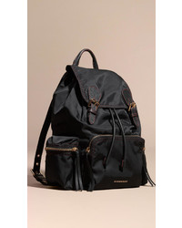 Burberry The Large Rucksack In Topstitched Nylon And Leather