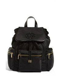 Tory Burch Stacked T Logo Nylon Backpack Black
