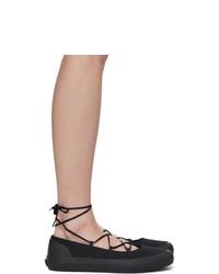 Ys Black Cross Ballet Sneakers