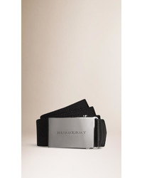 Burberry Plaque Buckle Webbed Canvas Belt