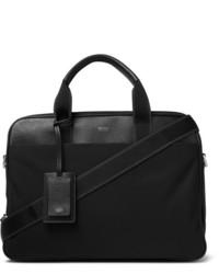 Hugo Boss Meridian Full Grain Leather Trimmed Nylon Briefcase