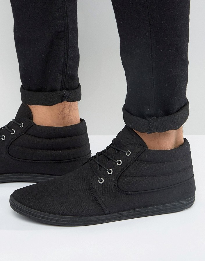 Asos Chukka Boots In Black Canvas, $23