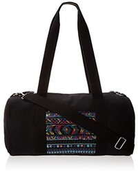 Wild Pair Canvas Duffle With Sequin Pocket And Webbed Straps Duffle Handbag