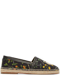 Dolce & Gabbana Black Canvas Lemon Espadrilles