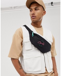 ASOS DESIGN Cross Body Bum Bag In Black With Cali Embroidery And Contrast White Zip