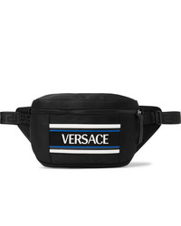 Versace Logo Appliqud Mesh Trimmed Nylon Belt Bag