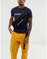 Calvin Klein Jeans Monogram Logo Extra Large Bum Bag In Black