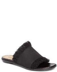 Black Canvas Flat Sandals