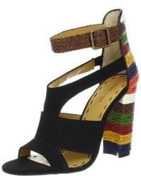 Black Canvas Heeled Sandals