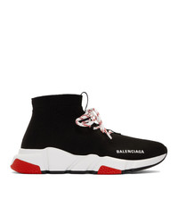 Balenciaga Black And Red Speed Trainer Sneakers