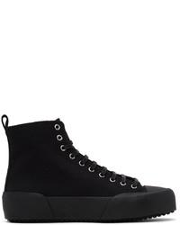Jil Sander Black Canvas High Top Sneakers
