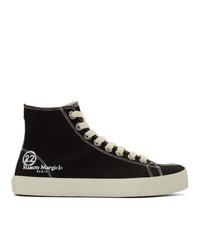 Maison Margiela Black Canvas Tabi High Top Sneakers