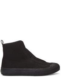 Y's Ys Black Cross Gore High Top Sneakers