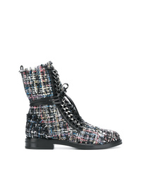 Casadei Tweed Lace Up Boots