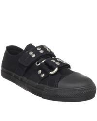 Demonia Deviant 12 Black Canvas Low Top Sneakers
