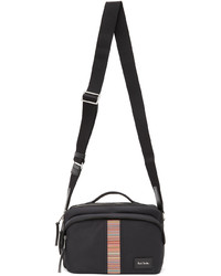 Paul Smith Black Canvas Signature Stripe Messenger Bag