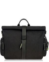 Black nylon and leather roll top messenger medium 6860293