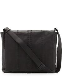 Bottega Veneta Cabriolet Perforated Leather Messenger Bag Black ... 5a92f7323175d
