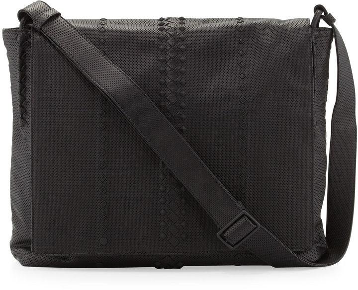 ... Bottega Veneta Cabriolet Perforated Leather Messenger Bag Black ... 1c60eb39c3a69