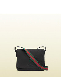 Gucci black techno canvas messenger bag medium 79112