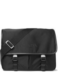Leather trimmed nylon messenger bag medium 6860290