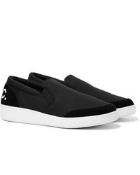 A.P.C. Cole Logo Print Suede Trimmed Canvas Slip On Sneakers
