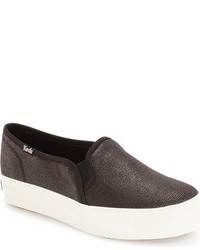 Keds Triple Decker Metallic Slip On Platform Sneaker