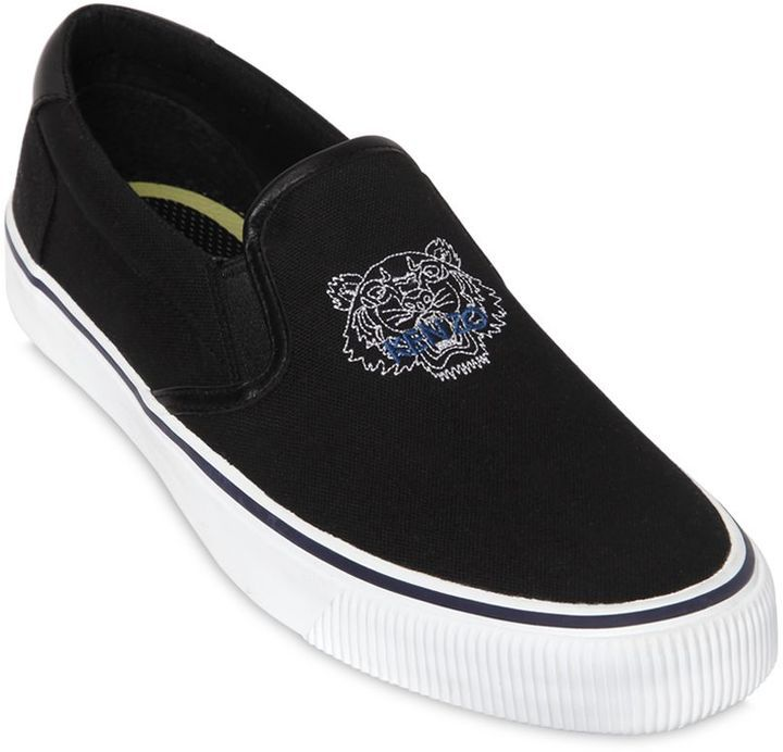 Men's Fashion › Footwear › Sneakers › Slip-on Sneakers › Black Canvas Slip-on  Sneakers Kenzo Tiger Cotton Canvas Slip On Sneakers ...
