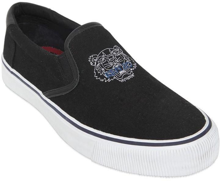 ... Kenzo Tiger Cotton Canvas Slip On Sneakers ... b780e5f6829e