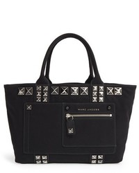 Marc Jacobs Chipped Studs Canvas Shoulder Tote Black