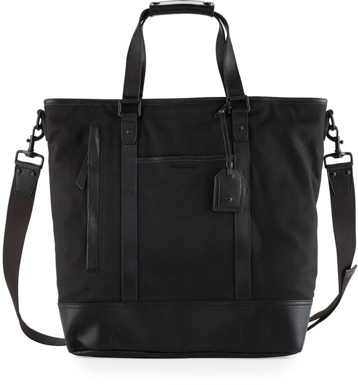 Cole Haan Leather Trim Canvas Tote Bag Black