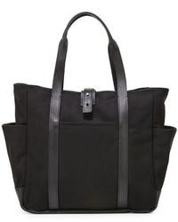 Shinola Leather Trim Canvas Utility Tote Bag Black