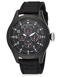 Saks Fifth Avenue Black Ip Stainless Steel Canvas Strap Chronograph Watch