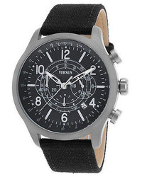 Versus Sgl01 Unisex Soho Chrono Black Canvas Black Dial