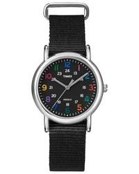 Timex Weekender Slip Thru Nylon Strap Watch With Multicolor Numbers Black T2n869jt
